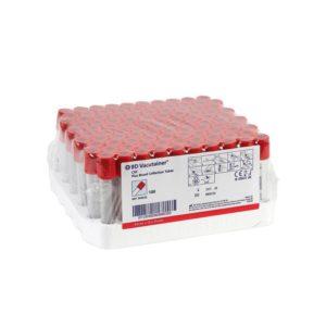 Vacutainer, glas til serumanalyser med skrivefelt, rød, plast, 4/5 ml